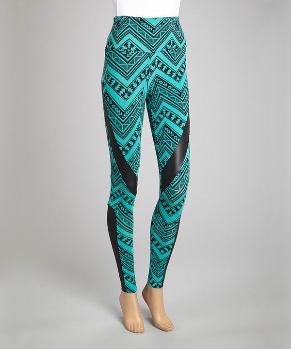 Take a look at this Teal Tribal Leggings on zulily today!
