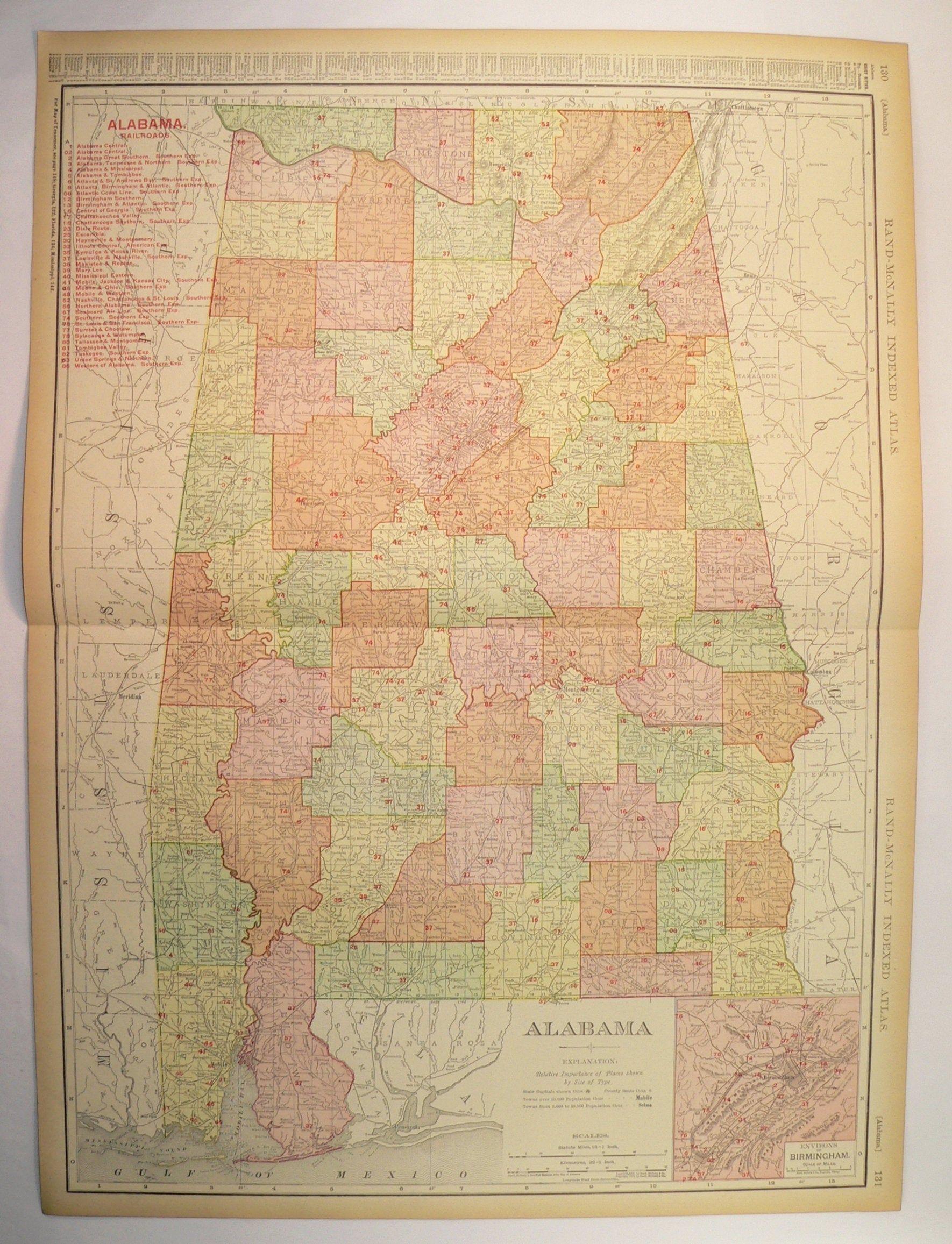 Very Large Alabama Map 1908 Original Antique Map Of