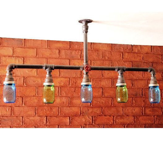 Mason jar chandelier ceiling light industrial pipe by hanormanor