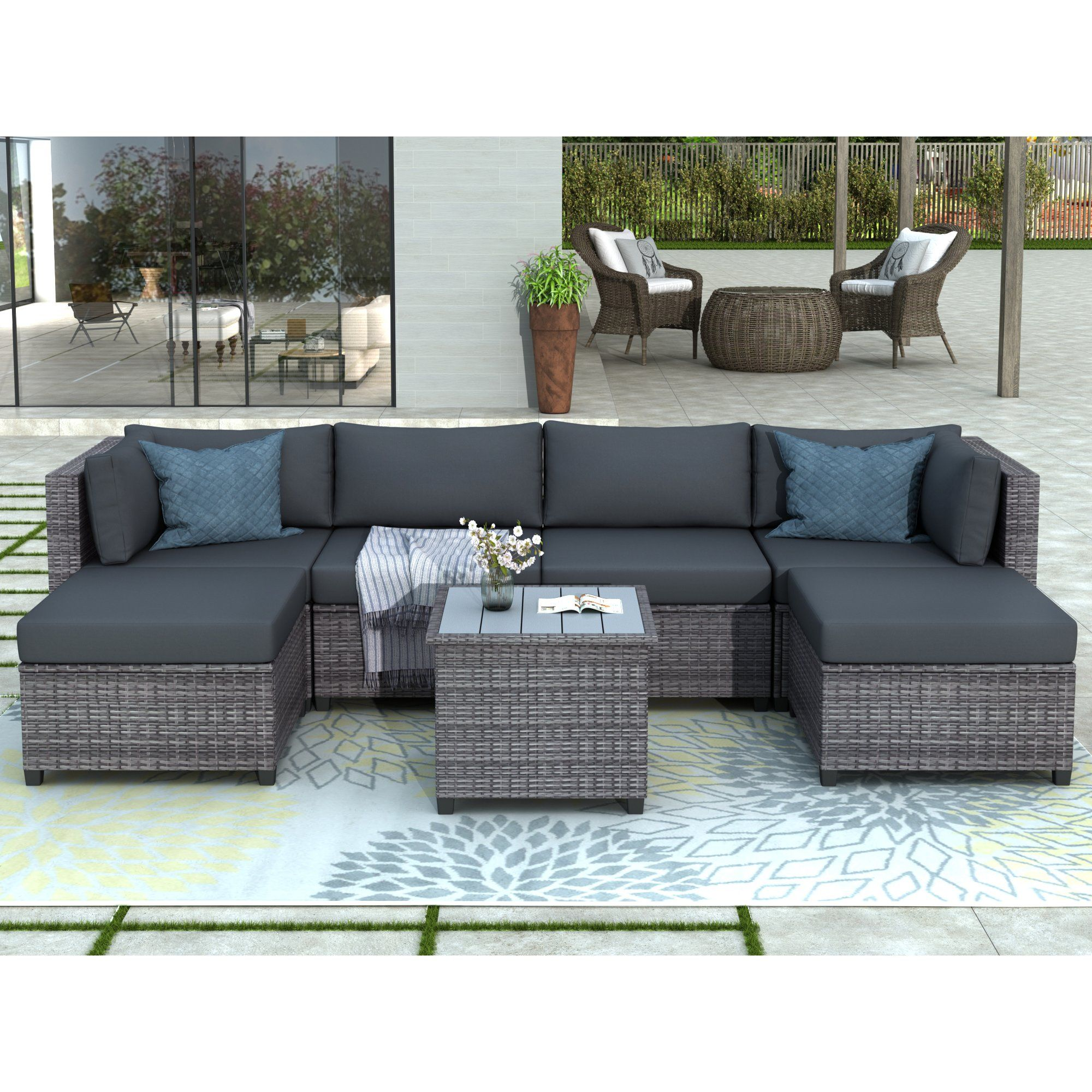 Clearance Outdoor Patio Sectional Sofa Sets Segmart Newest 7 Pieces Wicker Furniture Set With Seat Cushions Polywood Table Conversation Sets With 2 Ottoman In 2020 Backyard Furniture Wicker Outdoor Sectional Patio Sectional