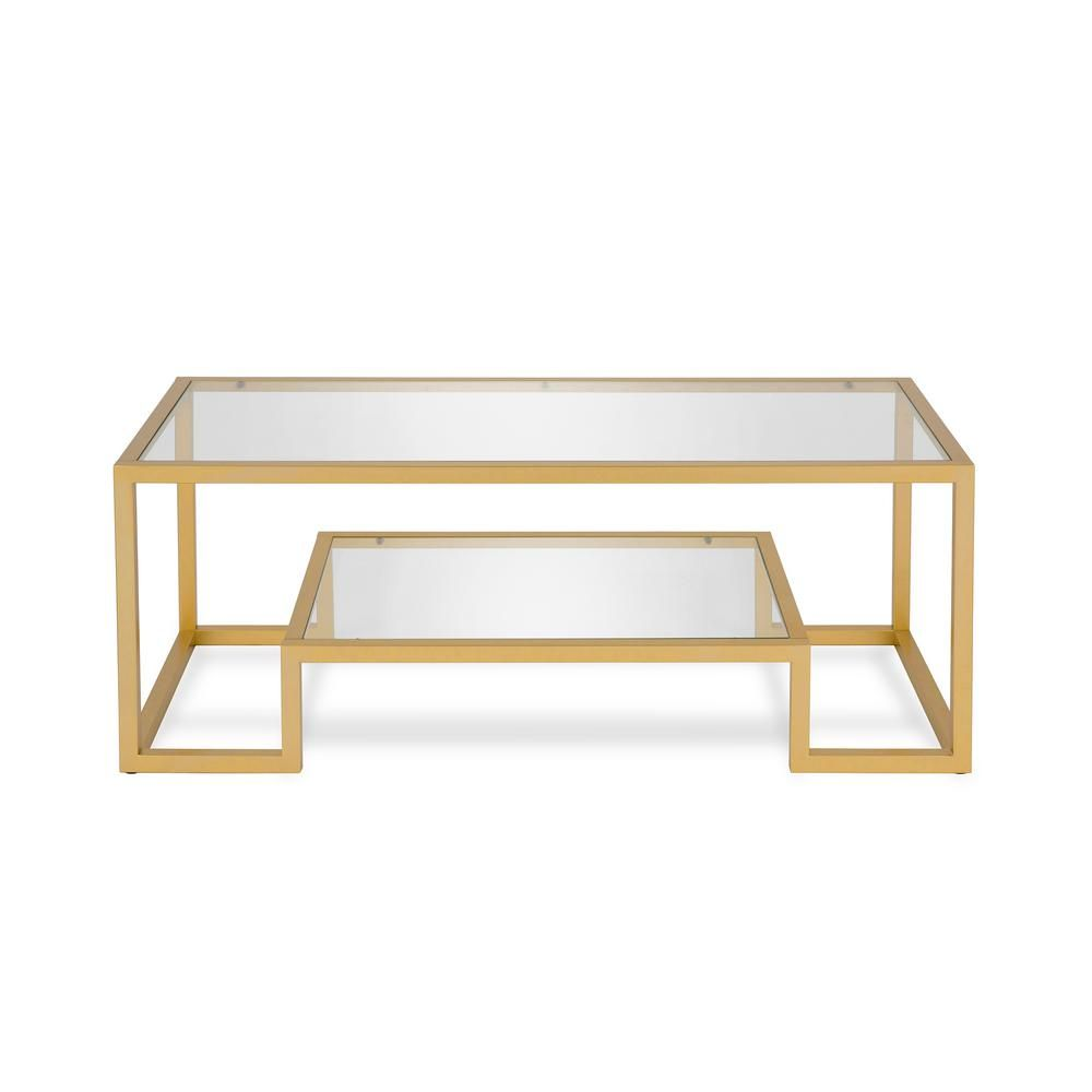 Meyer Cross Athena 45 In Brass Clear Large Rectangle Glass Coffee Table With Shelf Ct0066 The Home Depot Glam Coffee Table Gold Coffee Table Geometric Coffee Table [ 1000 x 1000 Pixel ]