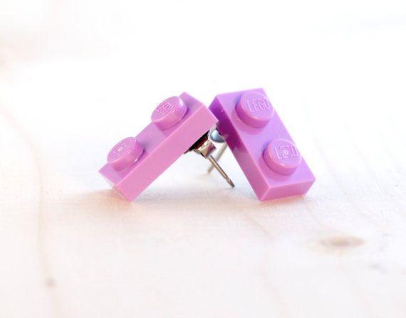 Lego earrings purple stud earrings lavender lego post earrings items similar to lego earrings purple stud earrings lavender lego post earrings gift for lego lovers light purple earrings easter gift for teens negle Image collections