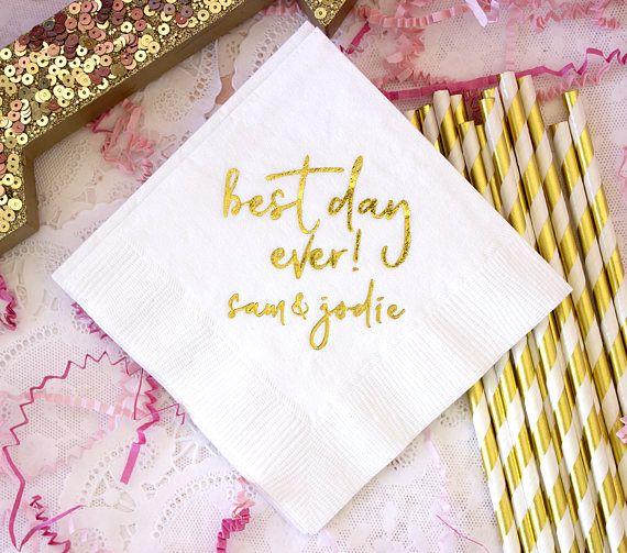 gold best day ever napkins customizable wedding napkins