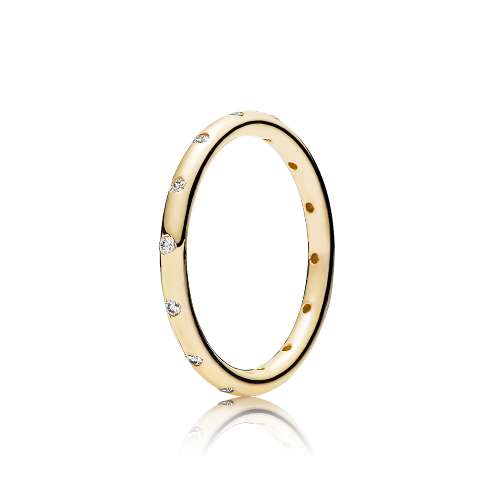 pandora gold ring with cubic zirconia