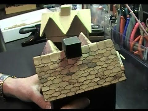 Shingled Roof on Mini Haunted House (Hobby Lobby Paper Mache House - hobby lobby halloween decor