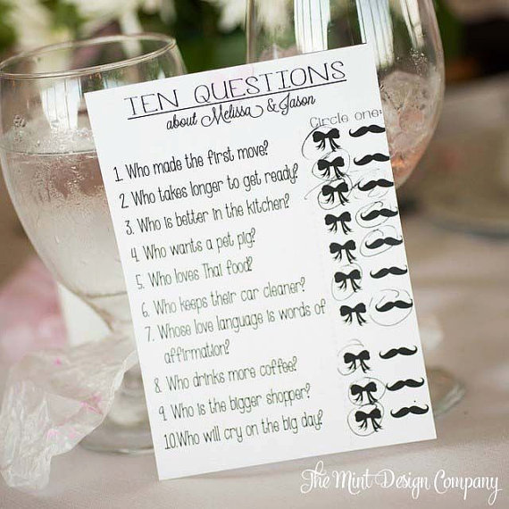 Bride And Groom Questionnaire: Make Your Shower Unique With Customized Game Printables
