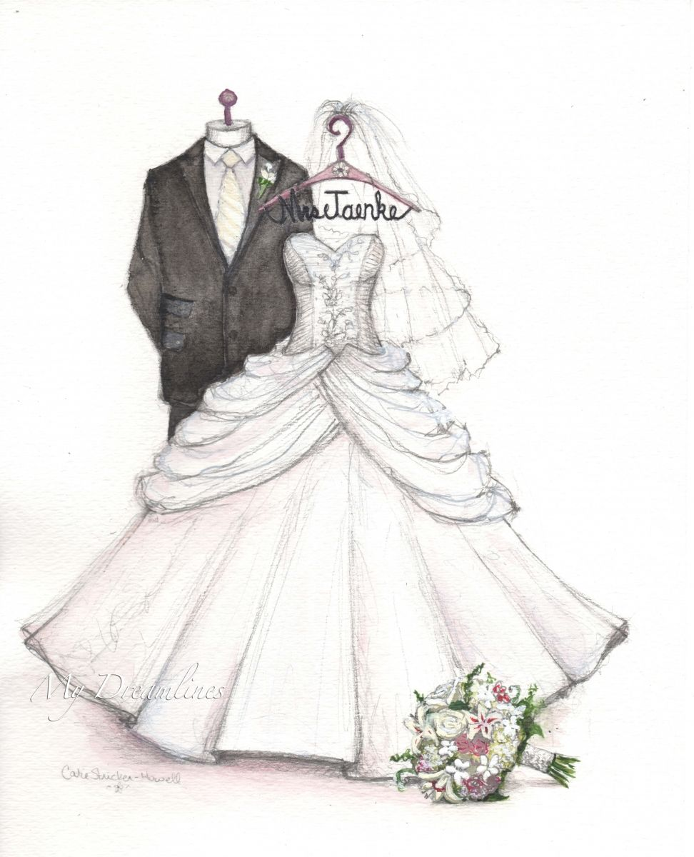 Wedding Dress Sketch For First Anniversary Gift From The Groom To Bride Did You
