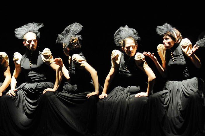 "costume design for ""monger"" a work by the choreographer Barak Marshall"