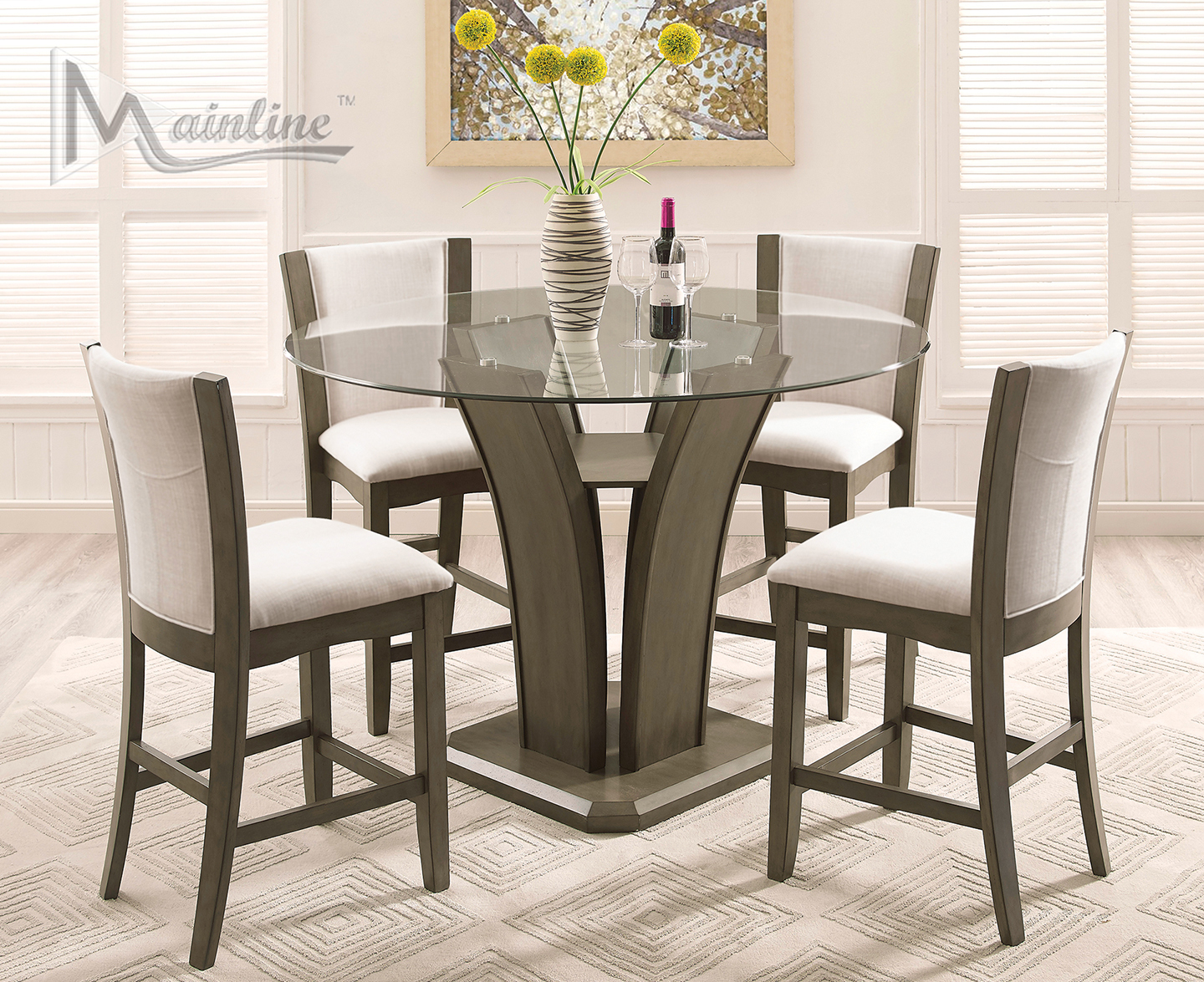 Enclave Gray Table 4 Chairs 22112 42 Mainline Inc Counter Height Dining Sets Counter Height Dining Table Set High Dining Table Dining Room Sets