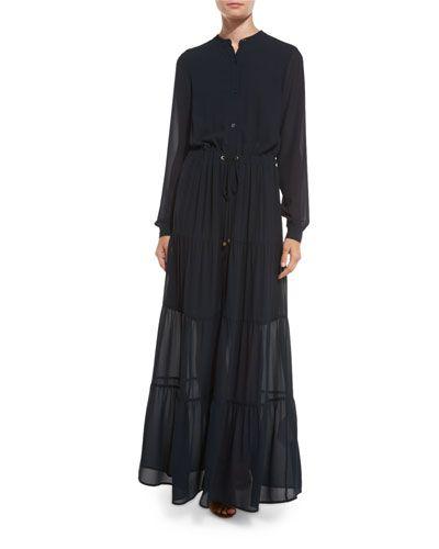 MICHAEL MICHAEL KORS Long-Sleeve Tiered Chiffon Maxi Dress, New Navy ...