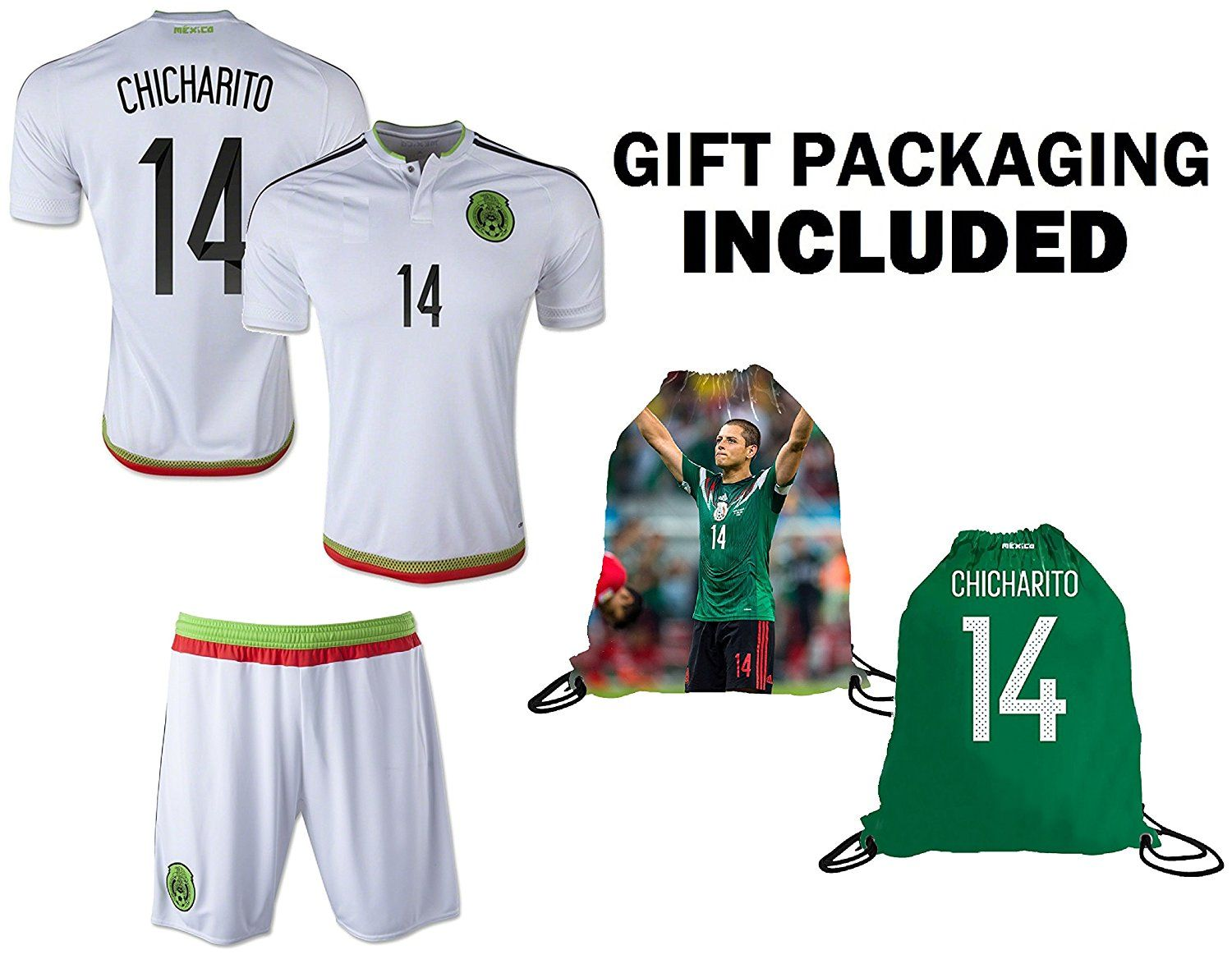ca24cb82b53e7 Amazon.com : Fan Kitbag Chicharito #14 Mexico Youth Home/Away Soccer ...