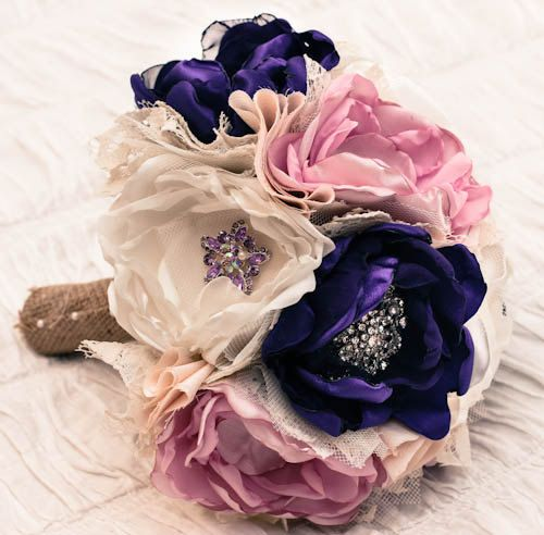 fabric flower bouquet with brooch accents! love it :)