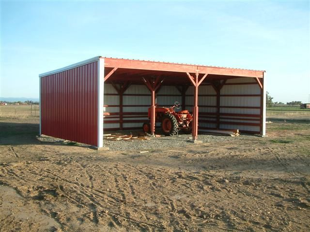 Slant Roof Pole Shed...enclose One Side With Roosting Bars.