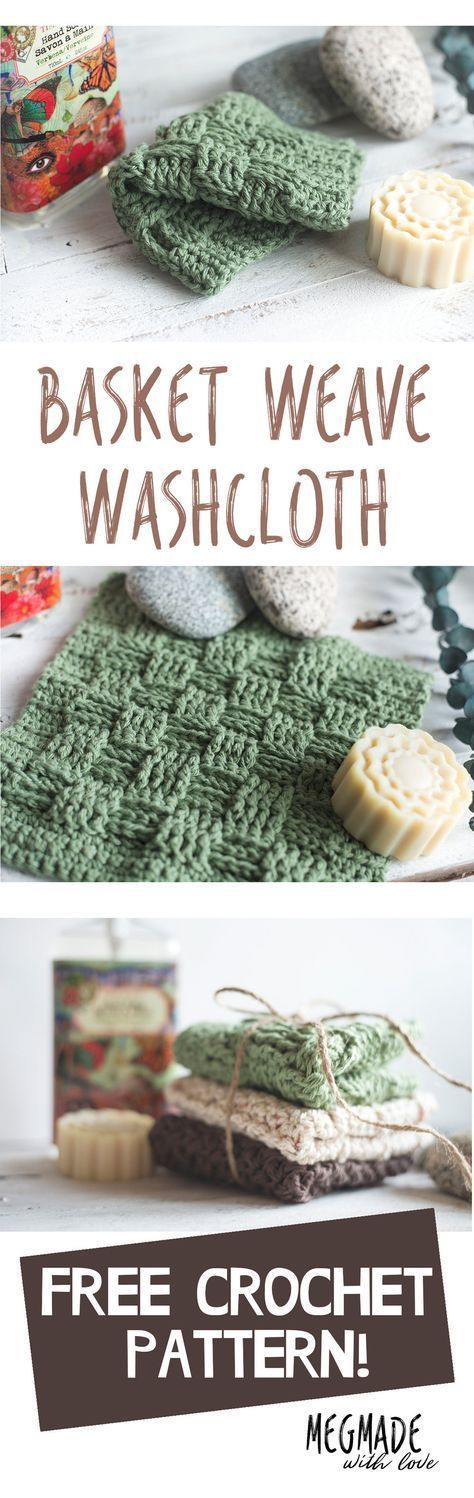 Free Crochet Pattern - Basketweave Stitch Washcloth | Crochet this ...
