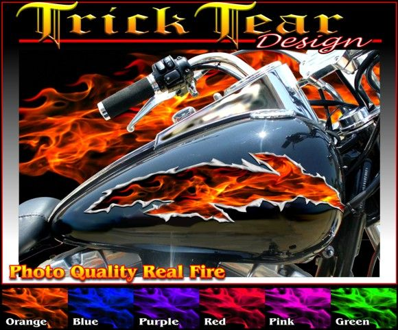 Personalize your ride with decals that have an airbrushed look easy to apply motorcycle vinyl graphics of flames skulls tribal fire lightning and more
