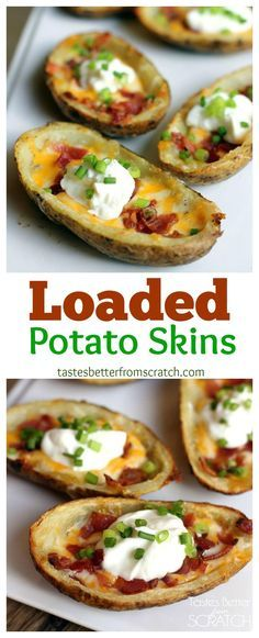 The BEST loaded potato skins! Recipe from Tastes Better From Scratch