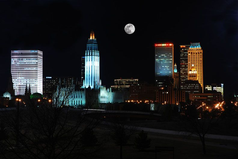 Night Skyline Of Tulsa Oklahoma Tulsa Time Tulsa Night Skyline