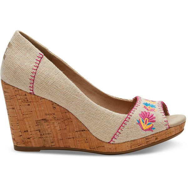 ad38a34aef2c TOMS Burlap Floral Embroidered Women s Stella Wedges ( 79) ❤ liked on Polyvore  featuring shoes