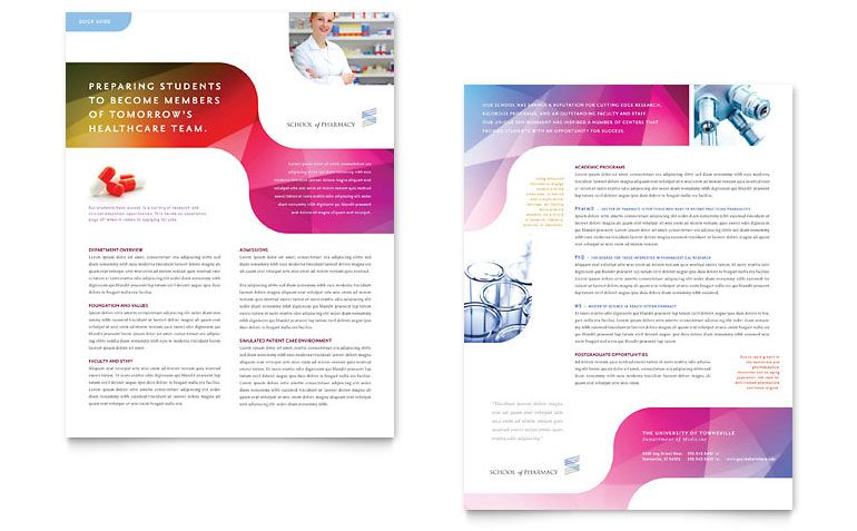 Pharmacy School Datasheet  Word  Publisher Template  Print Design