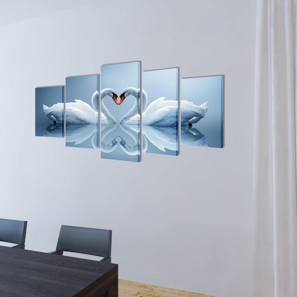 Photo of vidaXL Canvas Wall Print Set Swan 200 x 100 cm