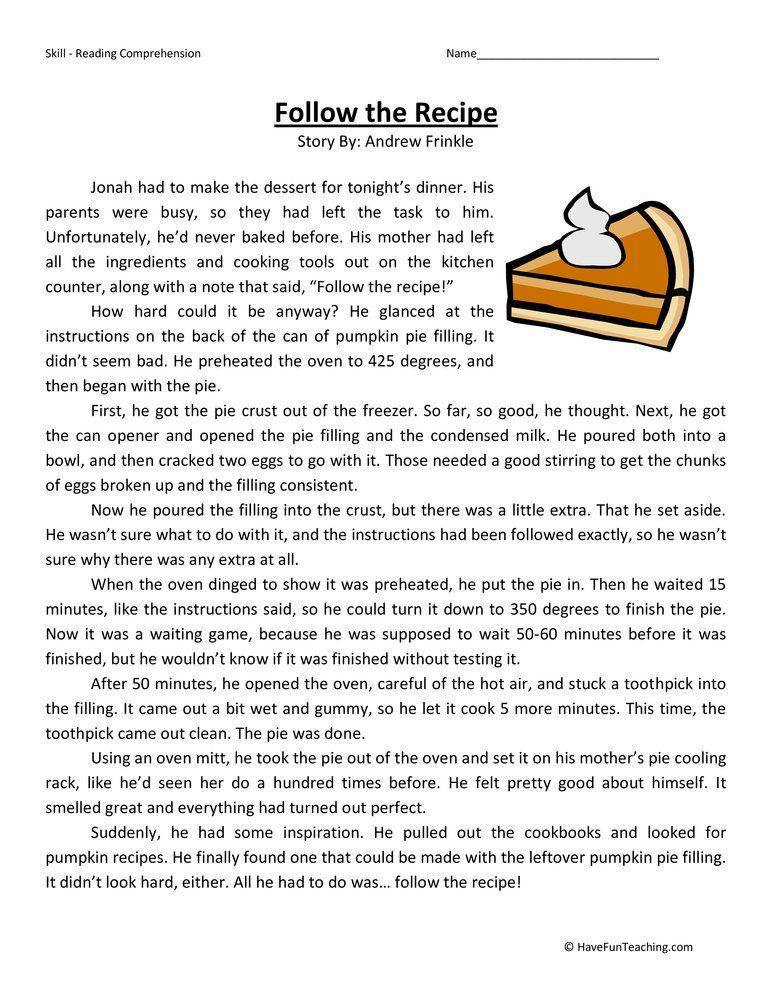 34++ Reading comprehension recipe worksheets Popular