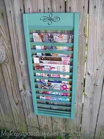 Magazine Rack From Shuttercloset Door RefurbishRepurpose Unique Door Magazine Holder
