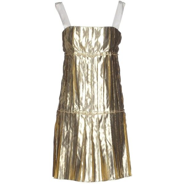 Redvalentino Short Dress (€225) ❤ liked on Polyvore featuring dresses, gold, zipper mini dress, sleeveless dress, sleeveless pleated dress, pleated dress and red valentino dress