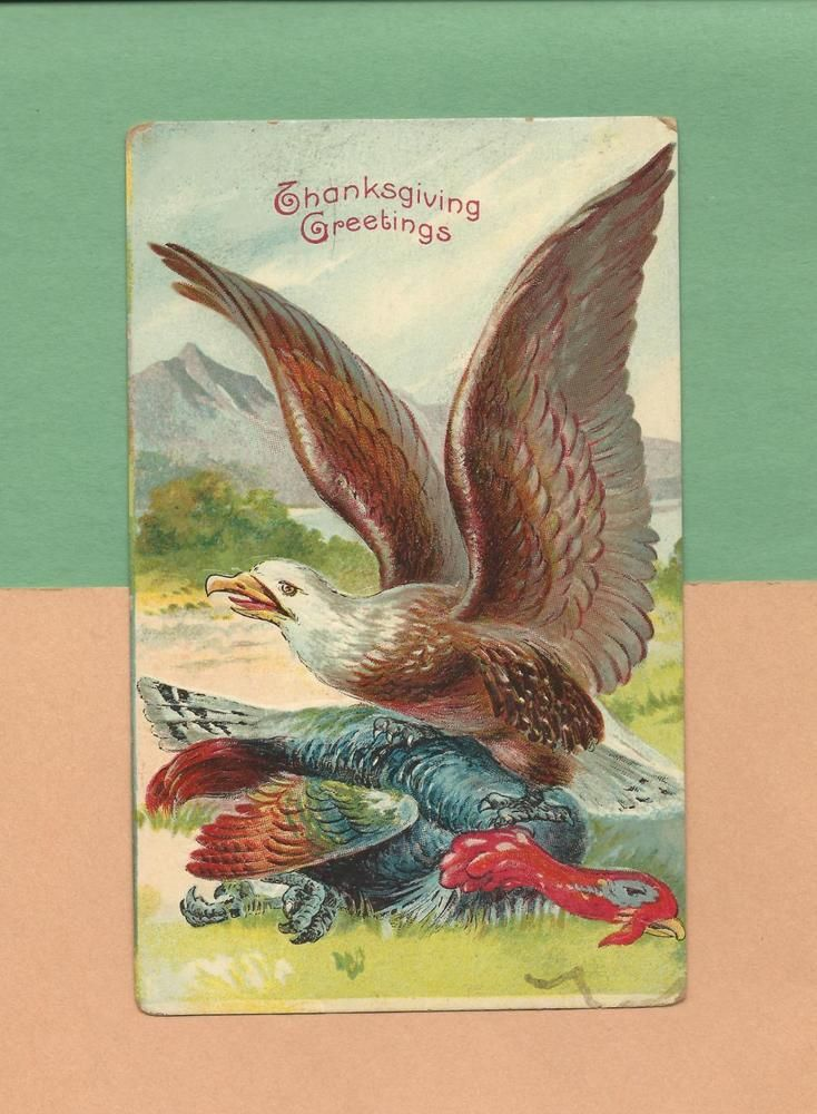 BALD EAGLE, TURKEY On Unusual Vintage 1910 PATRIOTIC THANKSGIVING Postcard