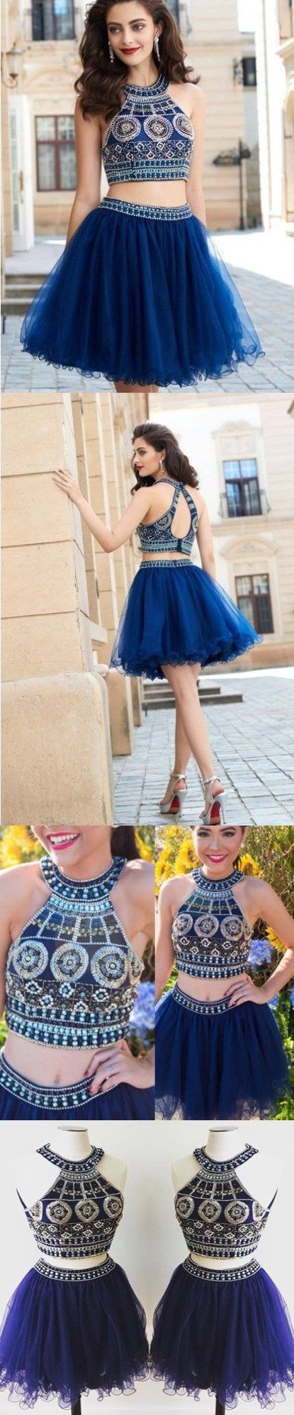Two piece homecoming dresses sparkly aline short prom dress chic