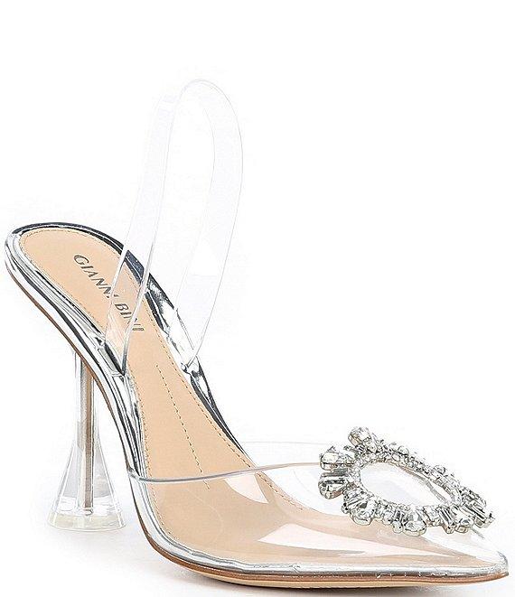 Details about  /Women Square Toe Strap Rhinestone Clear Kitten High Heel Open Toe Mules Sandals