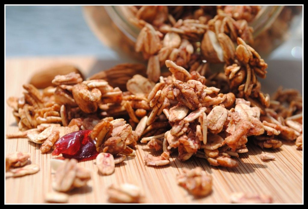 Berry Cherry Almond Granola, using berry puree as a sweetener!