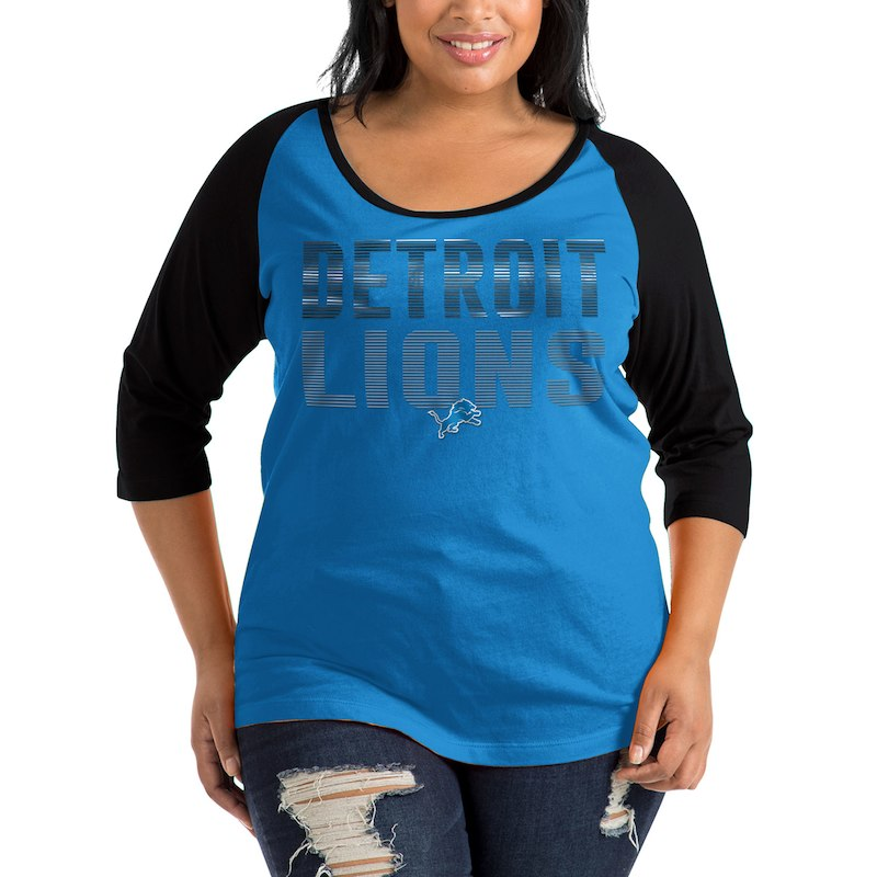e08469ec Detroit Lions New Era Women's Plus Size Shine 3/4-Sleeve Raglan T ...