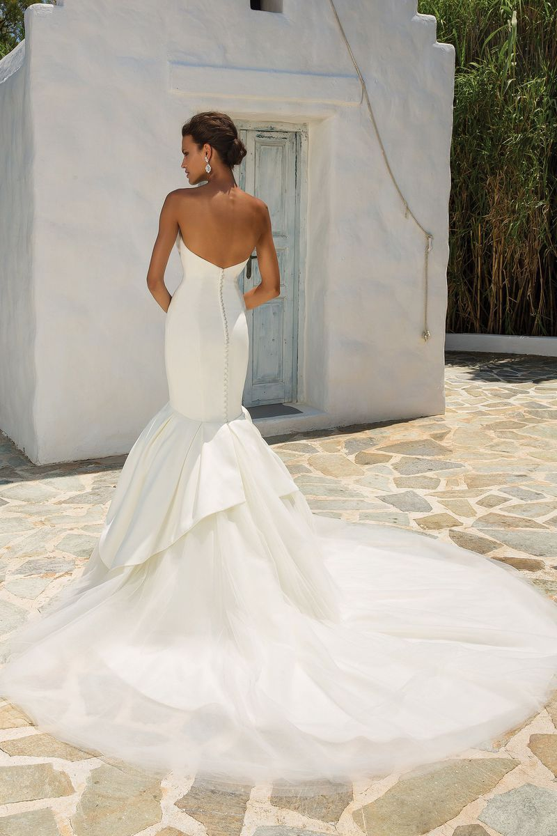 Style satin mermaid wedding dress accented with apron tulle