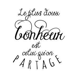 Sticker Mural Bonheur Noir 50 X 60 Cm French Quotes Quote