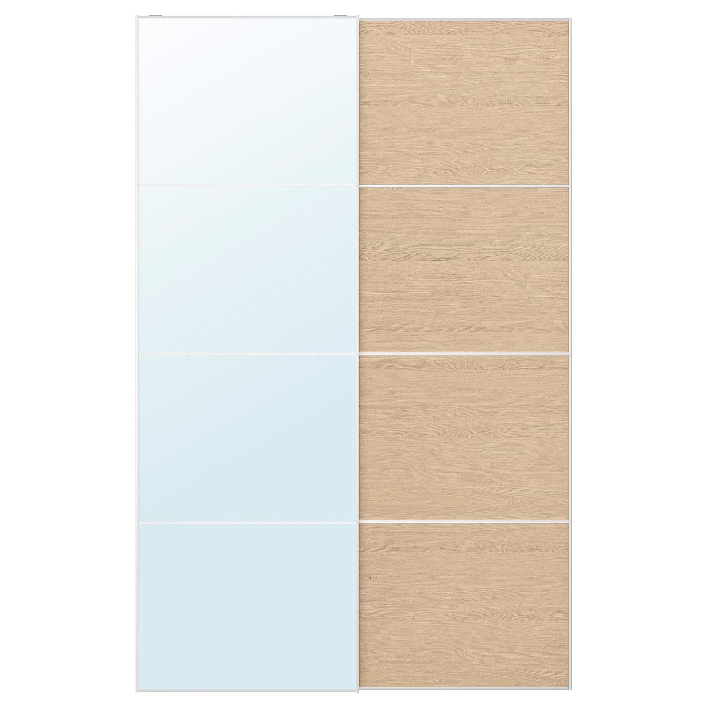 Auli Mehamn Pair Of Sliding Doors Mirror Glass White Stained Oak Effect Ikea In 2020 Glass Mirror Sliding Doors White Stain
