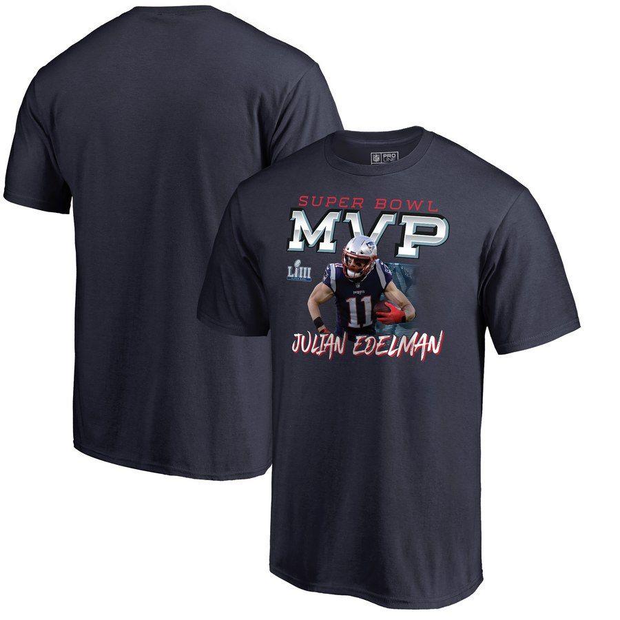 Julian Edelman New England Patriots Nfl Pro Line By Fanatics Branded Super Bowl Liii Champions Fourth Quarter Mvp T Shirt Navy