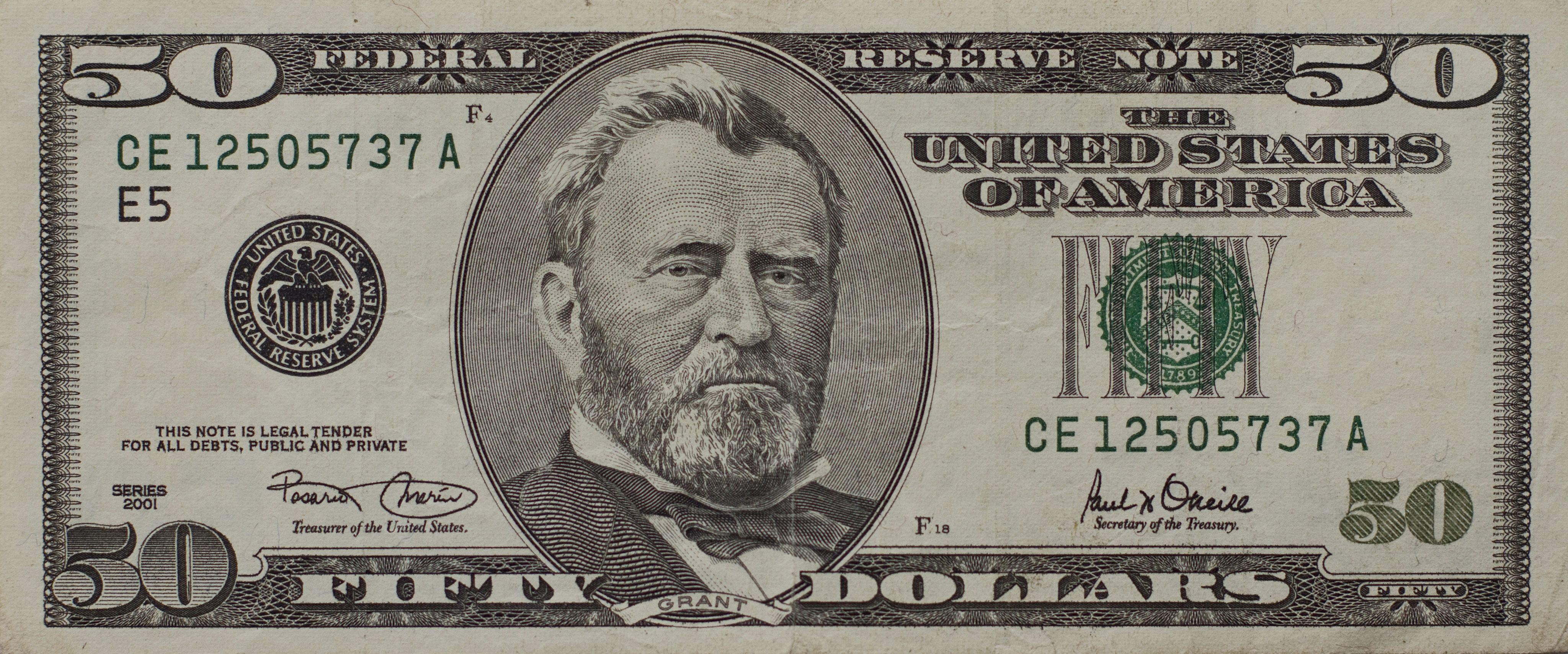 Us Fifty Dollar Bill Front In