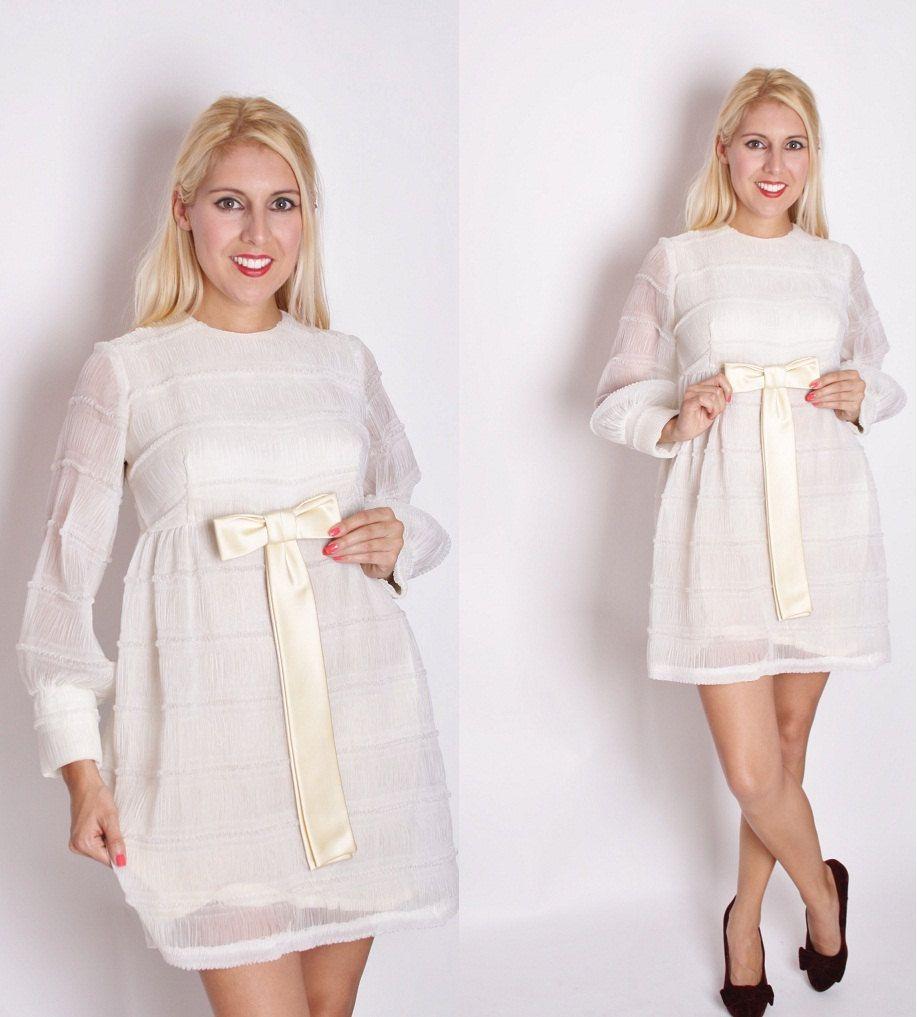 Vintage 1960s Short Mod Wedding Dress / Dress / Dresses
