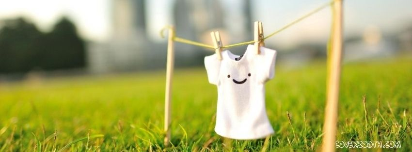 White Tshirt With Smiley Hanged Over Green Meadow Cute Facebook Timeline Profile Cover Cool Fb Banner