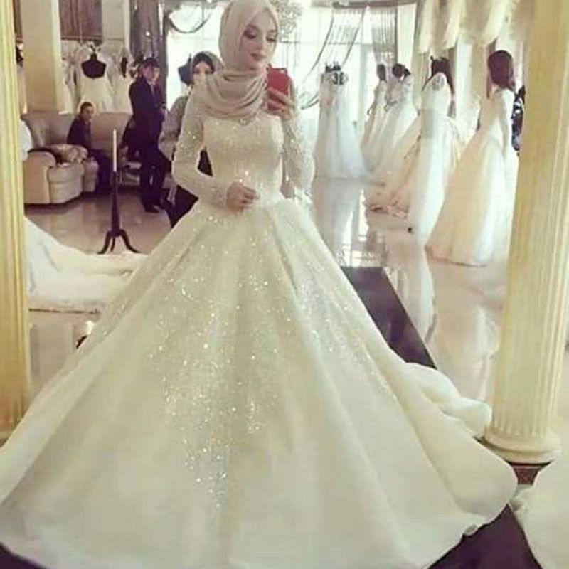 Robe De Mariage Long Sleeve Bridal Dress With Beading Brautkleid ...