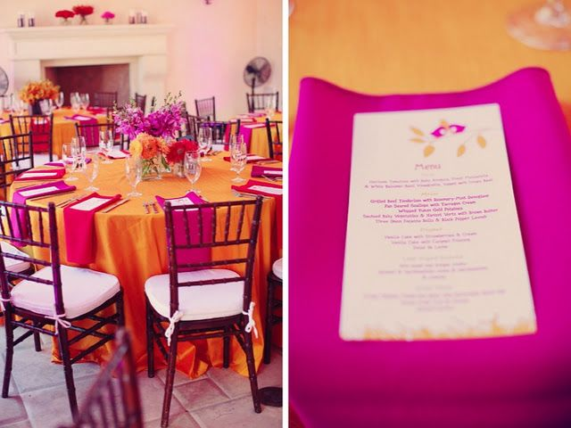 An example of a pink and orange table setting.  I think mine will be a burnt orange table cloth and light pink napkins