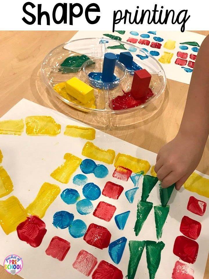 Shape printing! Plus 2D Shapes activities for preschool, pre-k, and kindergarten. Shape mats (legos, geoboards, etc), play dough mats, posters, sorting mats, worksheets, & MORE.