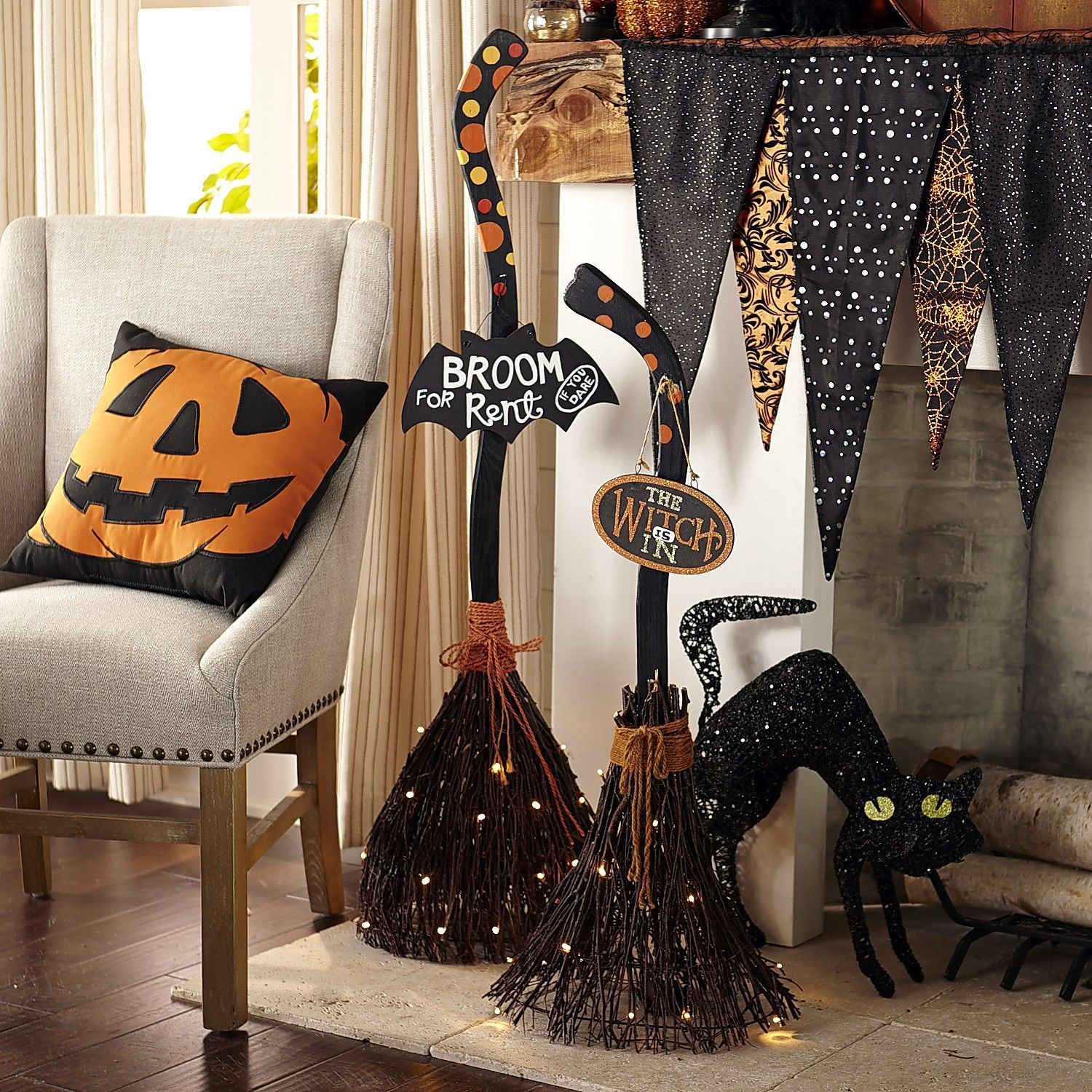 Pier One Decorating Ideas: Pre-Lit Broom For Rent Broom