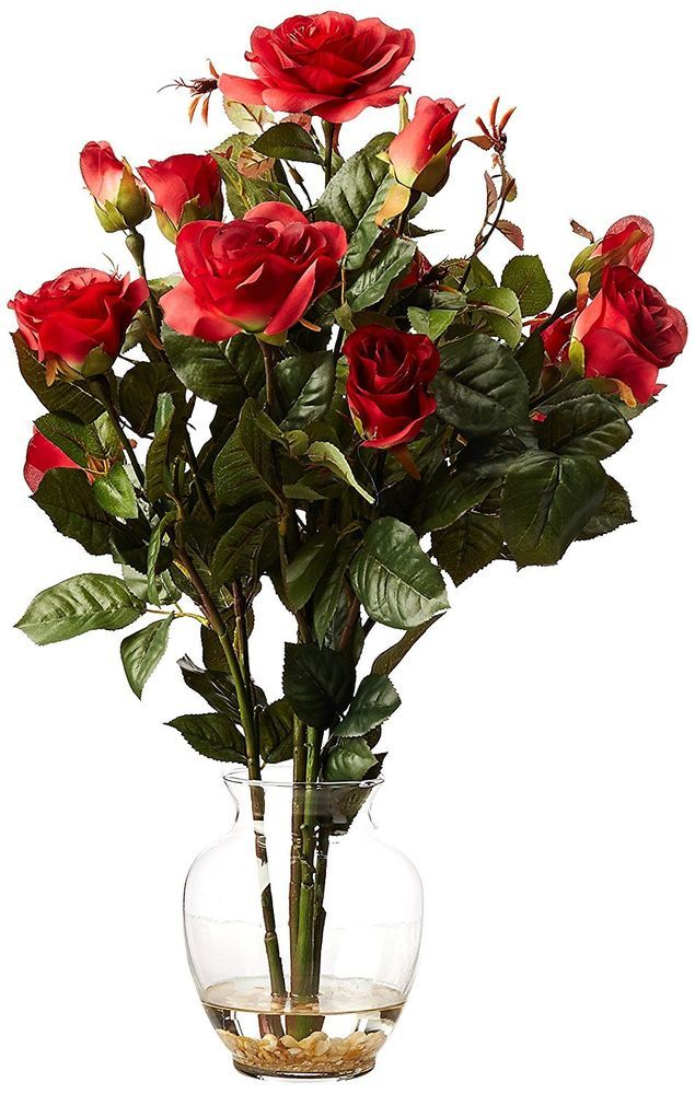 Nearly natural 1281 rd rose bush with vase silk flower arrangement flower nearly natural mightylinksfo
