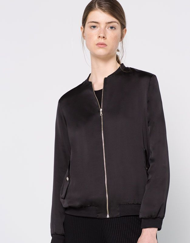 flowing silk satin bomber jacket new products woman. Black Bedroom Furniture Sets. Home Design Ideas