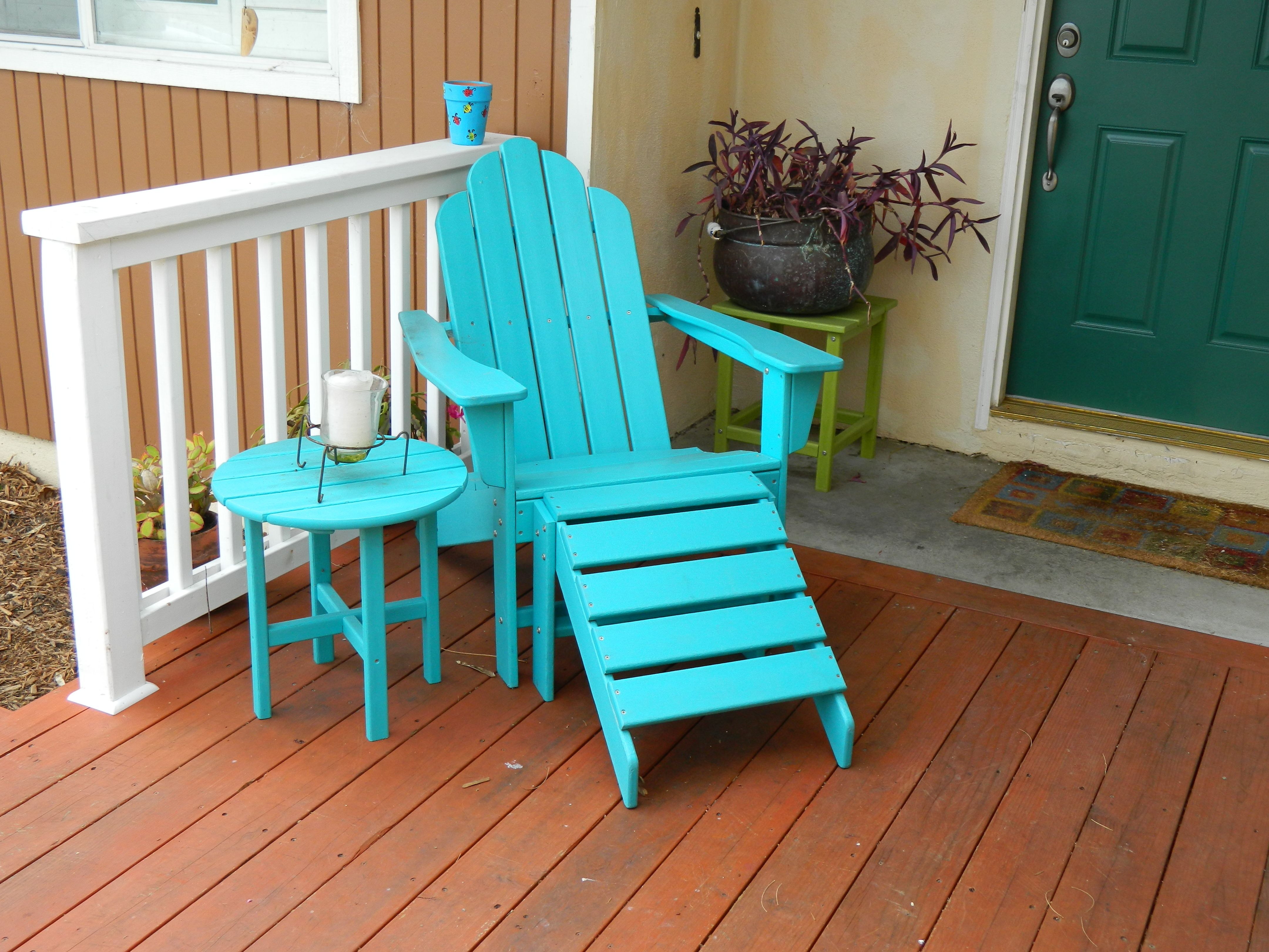 Long Island Adirondack with ottoman and round side table
