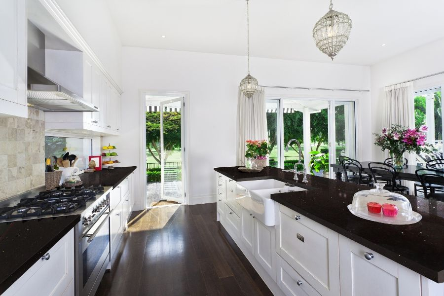 Best Sparkling Black Quartz Kitchen Black Kitchen 400 x 300
