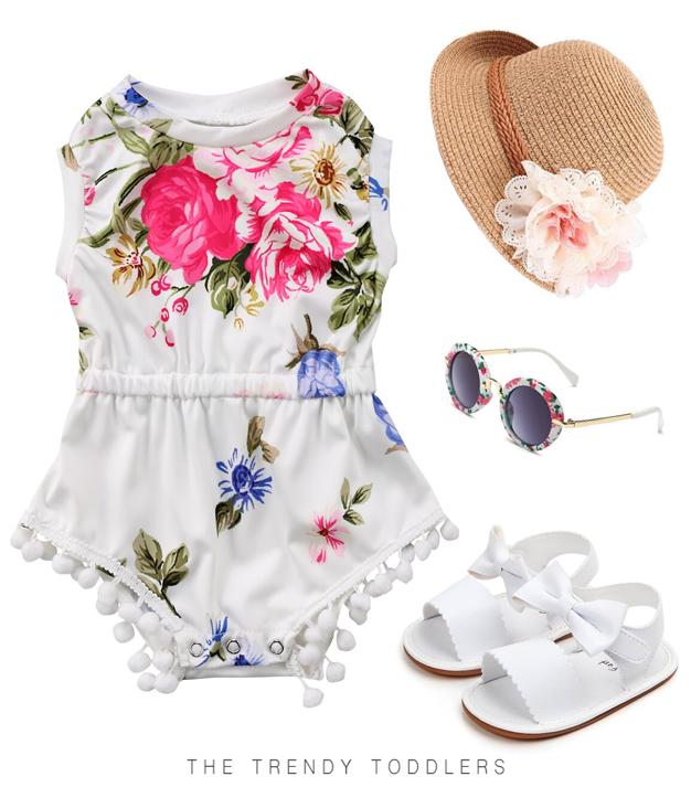 Lanhui Outfits for Newborn Kids Baby Girl Floral Sleeveless Romper Jumpsuit Clothes