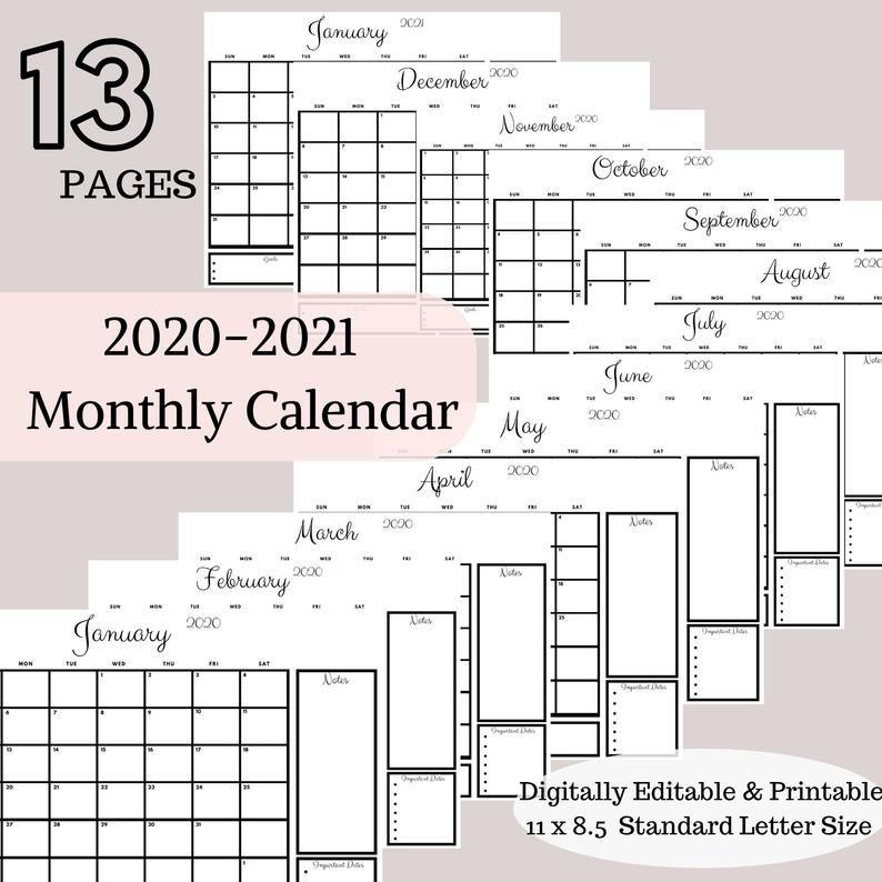 Family Calendar 2020 Calendar Printable Monthly Calendar Printable