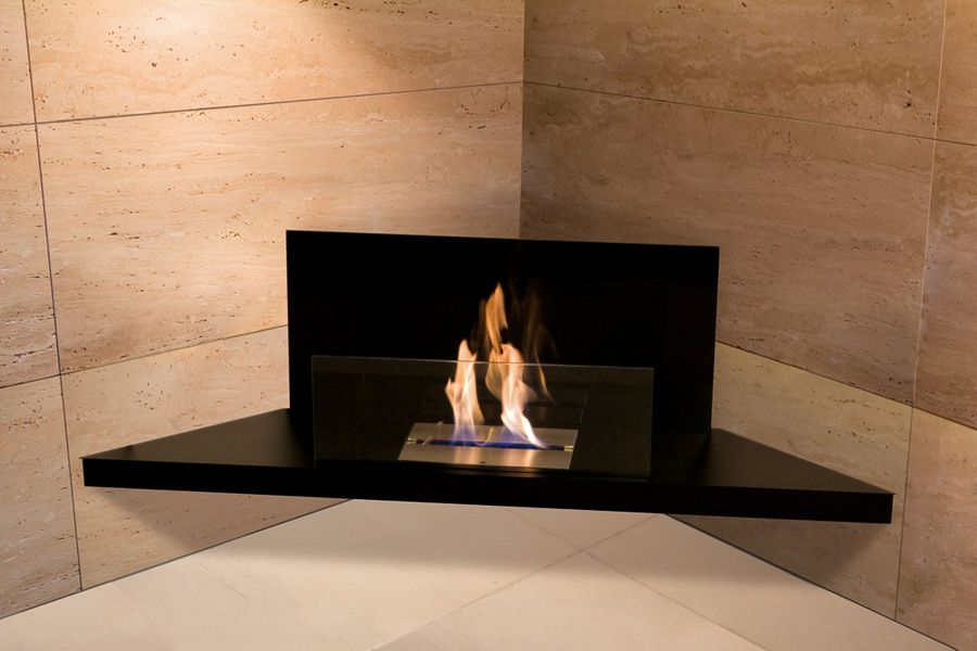 Modern Architecture Fireplace Radius Corner Flame Bio Ethanol Fireplace Stainless Steel Black Finis Ethanol Fireplace Bioethanol Fireplace Fireplace